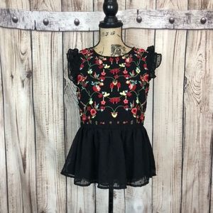 NWT Rebellion Black Floral Embroidered Peplum Top